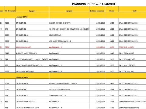 Planning  du 13 au 14 janvier