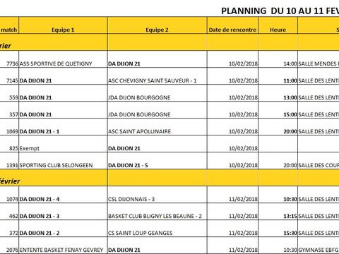 Programme  matches 10 et 11 fevrier