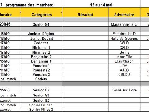 programme des matches du 12 au 14 mai