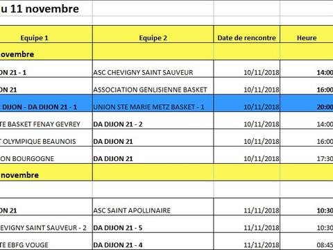 matches du 10 au 11 novembre