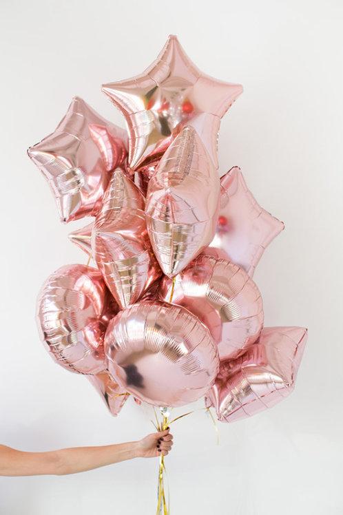 Сет из фольгированных шаров розовое золото