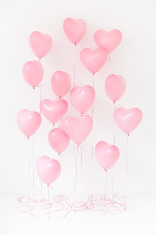 Воздушные шары сердца 30 см, нежно розовый, 15 шт