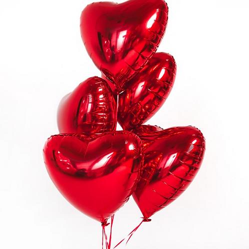 Фольгированные сердечки красные 5 шт