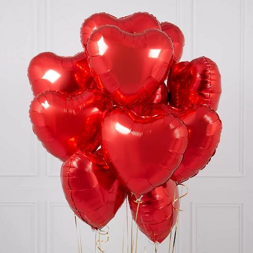Фольгированные сердечки красные 15 шт