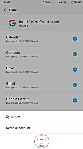how to remove one gmail account from redmi 4