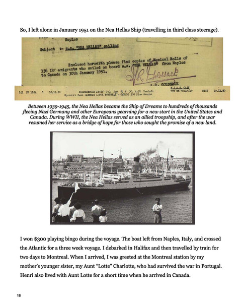 Narrative page with photo and document
