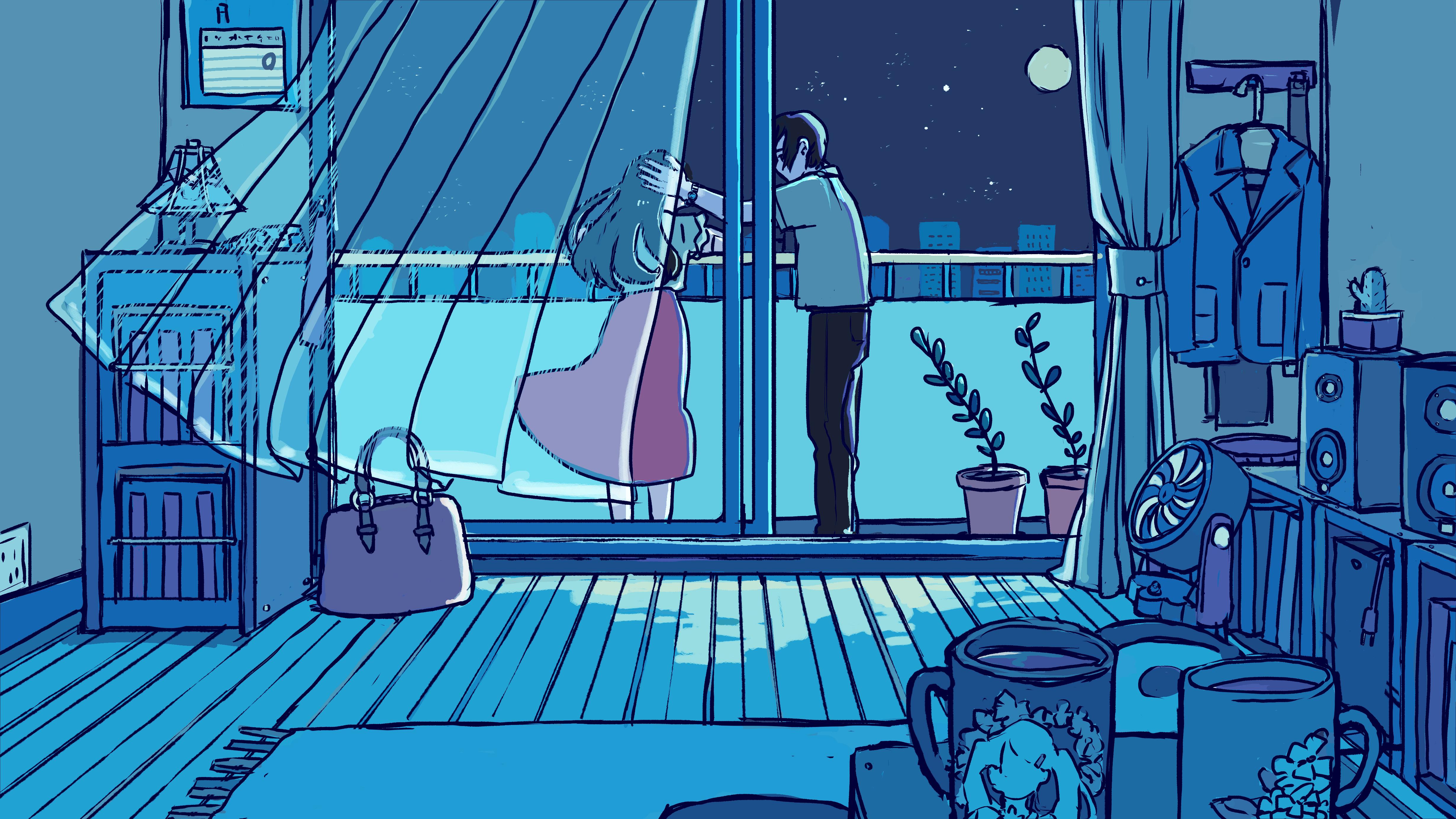 月夜とランプ