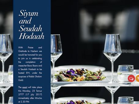 Siyum and Seudah Hoda'ah