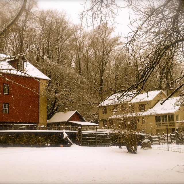 Winter farmhouse and barn scene 1.1.15.j