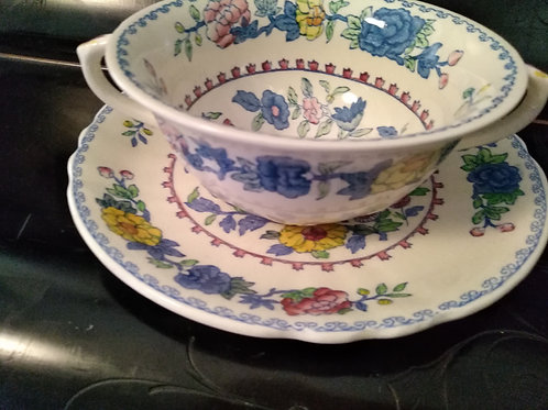Mason Regency Soup Coupe and Saucer-Fluted