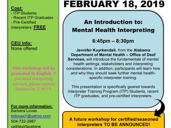 "FREE MINI WORKSHOP ""Intro to Mental Health Interpreting"""
