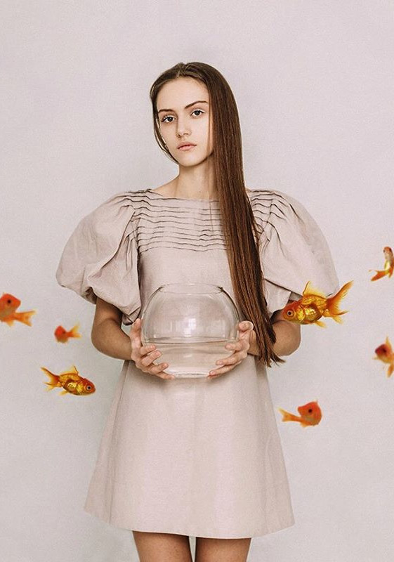 Golden Fish and Girl - pink color mood.j