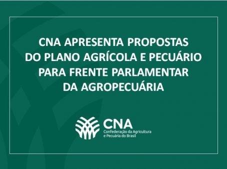 CNA apresenta propostas do Plano Agrícola e Pecuário para Frente Parlamentar da Agropecuária