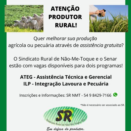 Produtor Rural: Quer melhorar sua produção? Participe dos Programas gratuitos do Sindicato Rural!