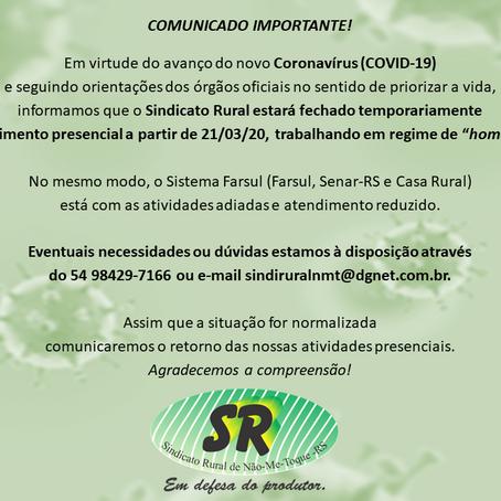 COMUNICADO – COVID 19