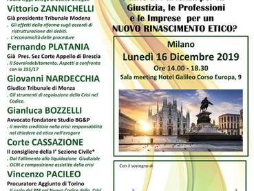 """SEGNALAZIONE CONVEGNO 16 dicembre 2019 a Milano: """"CODICE DELLA CRISI D'IMPRESA DECRETI DELEGATI"""