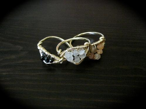 Tri Stacking Ring in Luna Gemstones