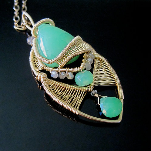 Chrysophrase One of a Kind Pendant Necklace
