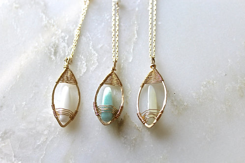 Set of 3 Petal Pendant Necklaces