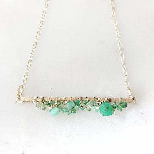 Hammered Bar Gemstone cluster necklace