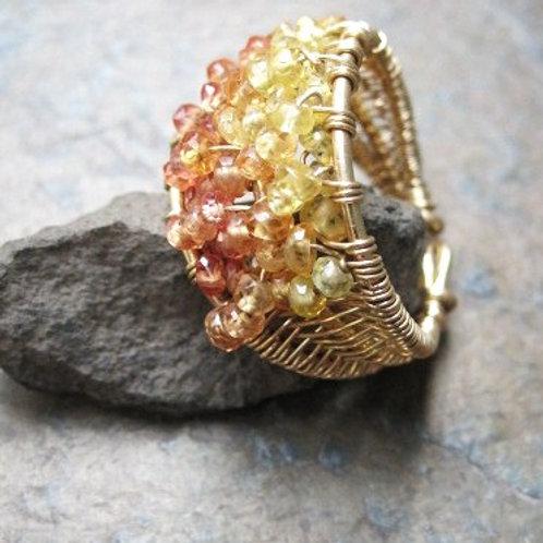 Yellow Sapphire Triple layer ring