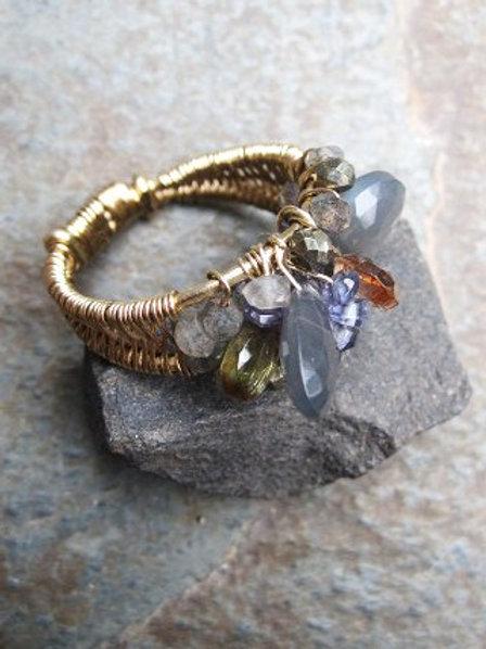 Custom Grey Moonstone, Andalusite, Iolite Ring