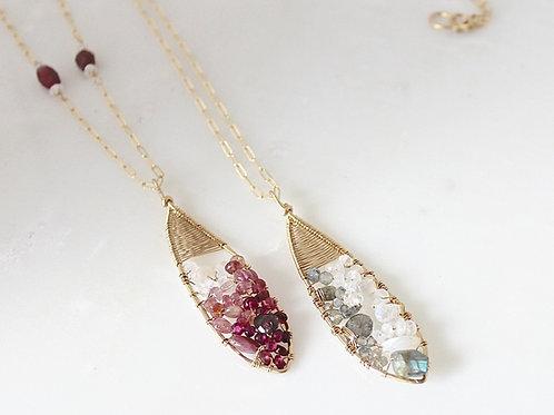 Long Teardrop Clustered Gemstone Pendant