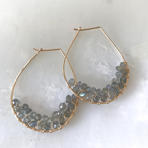 Hoop Cluster Gemstone Earrings
