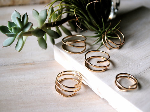 Set of 5 Hammered Spiral Rings
