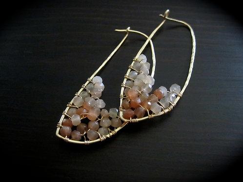 Peach Moonstone Crescent Earrings