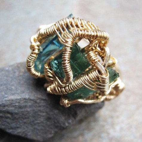 Blue-Green Tourmaline and Aquamarine Ring
