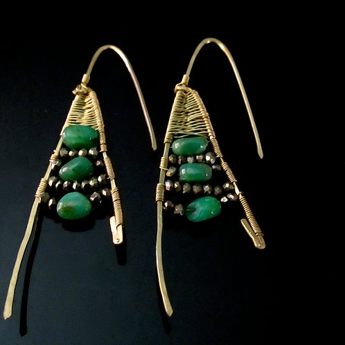 Chrysoprase and Pyrite Long Earrings