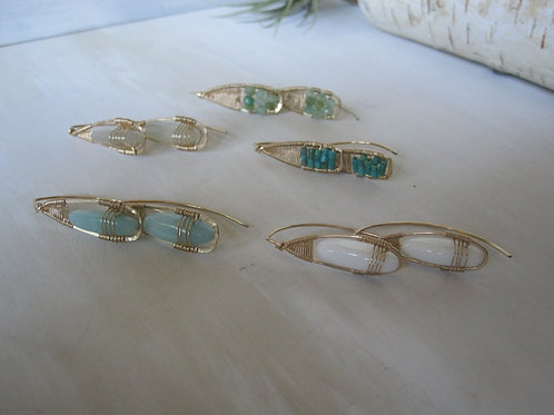 Set of 5 Pull Through Earrings in mixed gemstones