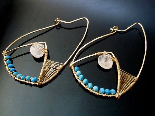 Arshia Earrings in Moonstone and Turquoise