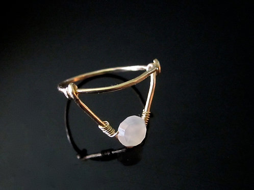 Chandra Simple Ring with Moonstone