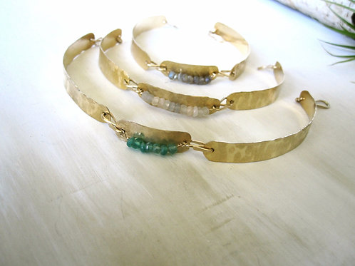Long Link Bracelet with gemstones