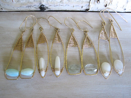 Set of 5 Woven Teardrop Earrings