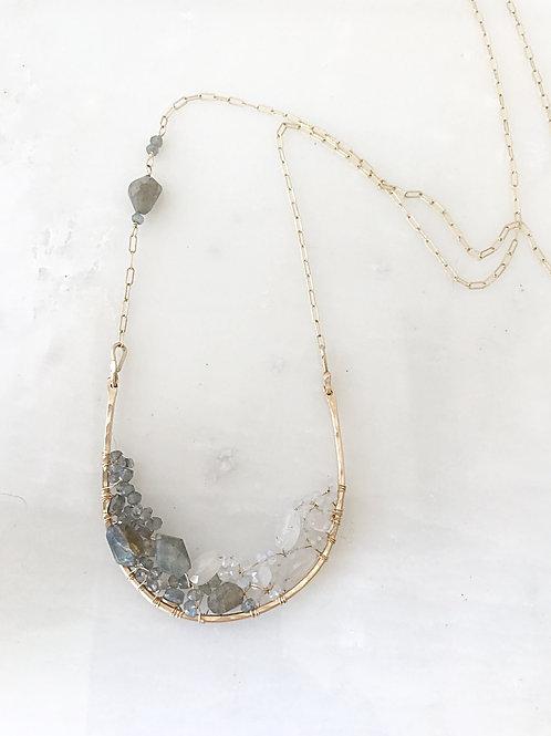 Large Horseshoe Clustered Gemstones Pendant