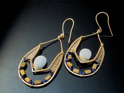 Faiza Earrings in Lapis, Brass, and Amazonite