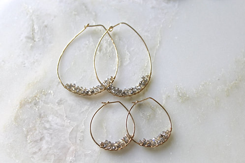 1 pair large hoop cluster earrings