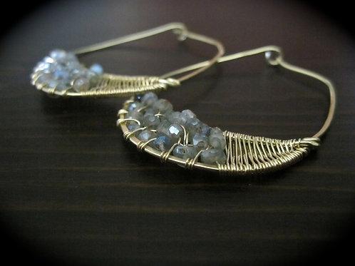 Crescent Hoop Earrings in Labradorite