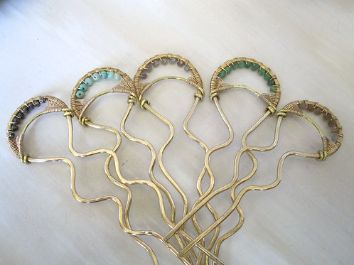 set of 5 woven hairpins with gemstones