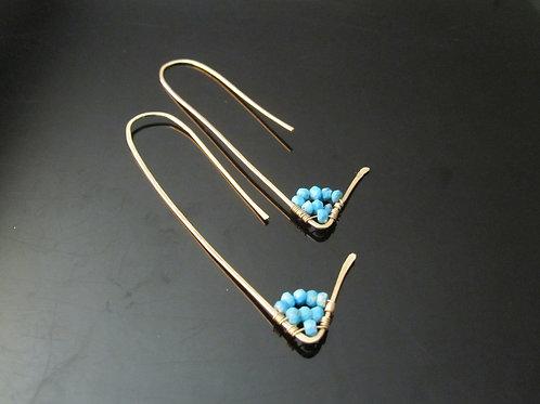 Amiti Long Pull Through Earrings in Turquoise