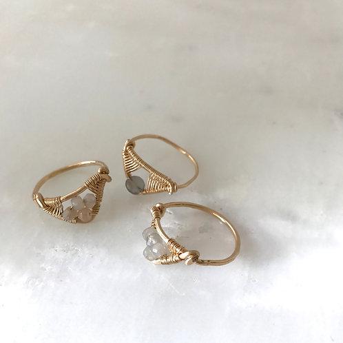 Tri Stacking Rings in Gemstones