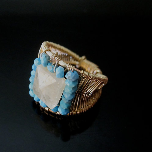 Arshia Ring in Moonstone and Turquoise