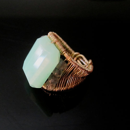 Chrysophrase and Labradorite Cocktail Ring