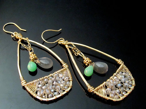 Chrysophrase and Labradorite teardrop earrings