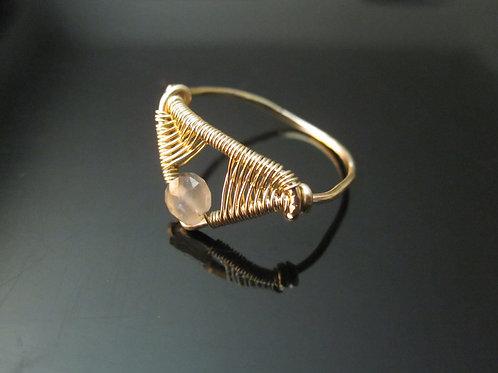 Chandra Ring in Grey Moonstone