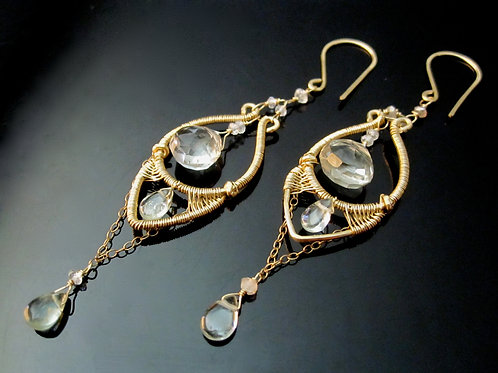 Green Amethyst and Aquamarine Grecian Earrings