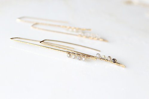 Pull Through Dagger Earrings with Gemstones